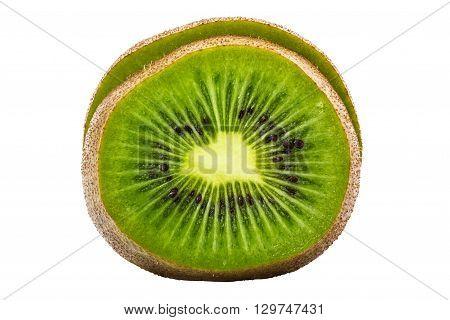 Sliced Kiwifruit isolated on white background and clipping path