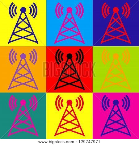 Antenna sign. Pop-art style colorful icons set.