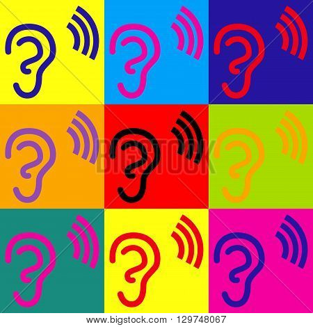 Human ear sign. Pop-art style colorful icons set.