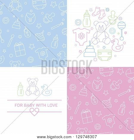 Collection of baby seamless patterns and emblems. Easy to edit and recolor.Linear style and colorful icons. Design for packaging for invitation and baby shower card.Vector illustration