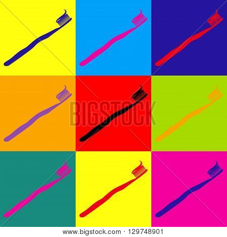 Tooth brush with applied toothpaste portion. Pop-art style colorful icons set.