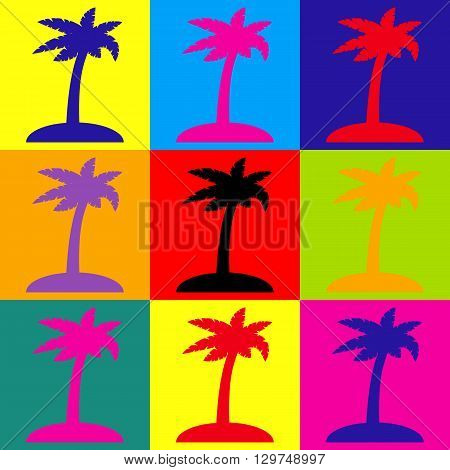 Coconut palm tree sign. Pop-art style colorful icons set.