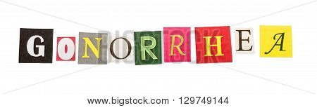 Caption gonorrhea made of colorful letters isolated on white background.