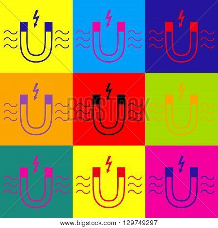 Icon of magnet with magnetic force indication. Pop-art style colorful icons set.