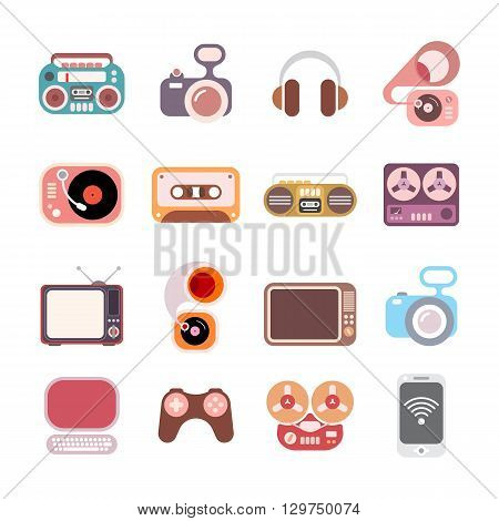 Electronic colorful flat vector icons isolated on a white background.