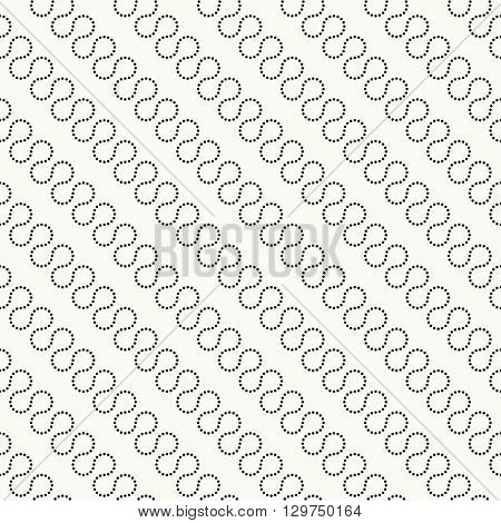 Dotted seamless pattern. Modern stylish texture. Regularly repeating geometrical pattern with diagonal dotted waves. Vector abstract seamless background