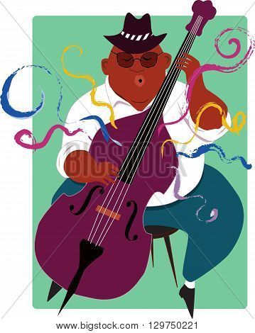 Cool man playing jazz contrabass,  EPS8 vector illustration