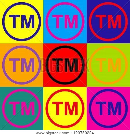 Trade mark sign. Pop-art style colorful icons set.