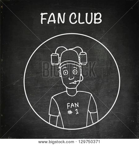 Fan with beer helmet. Sport, baseball, football, soccer. Chalk board vector stock illustration