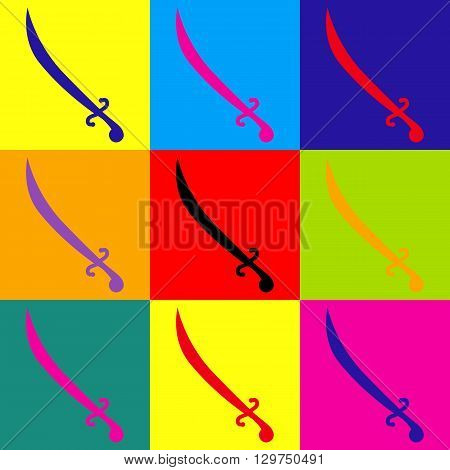 Sword sign. Pop-art style colorful icons set.