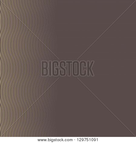 Seamless vector pattern. Modern geometric brown and golden pattern with repeating wavy lines