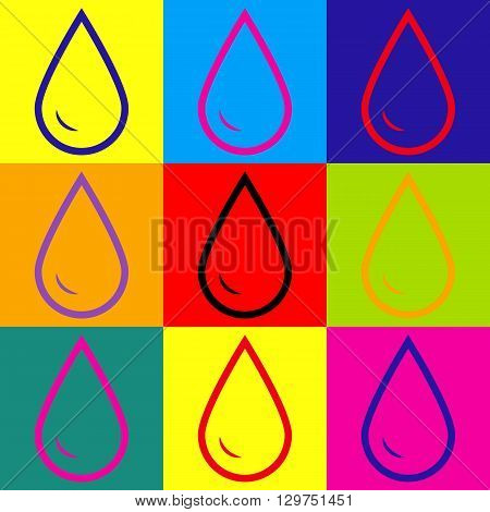 Drop of water sign. Pop-art style colorful icons set.