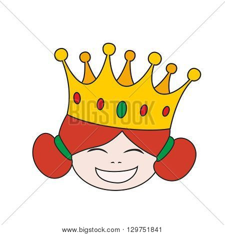 Happy little princess head in crown vector illustration isolated on white background