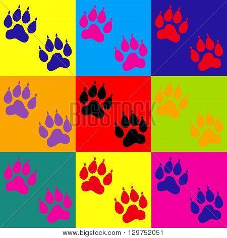Animal Tracks sign. Pop-art style colorful icons set.