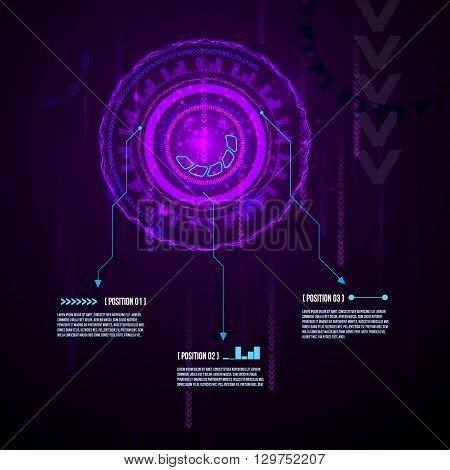 Abstract futuristic circuit board, hi-tech computer digital technology concept, Blank infographic design on dark background, vector.