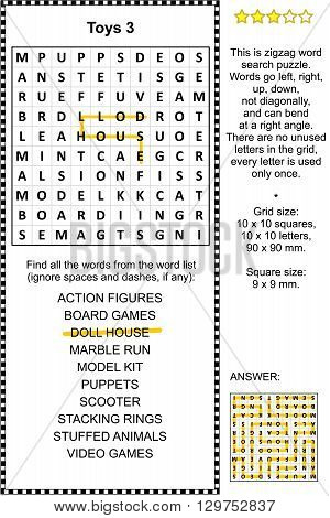 Toys and games themed zigzag word search puzzle 3 (suitable both for kids and adults). Answer included.