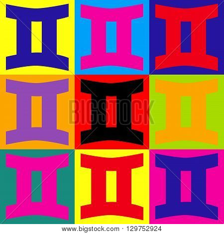 Gemini sign. Pop-art style colorful icons set.