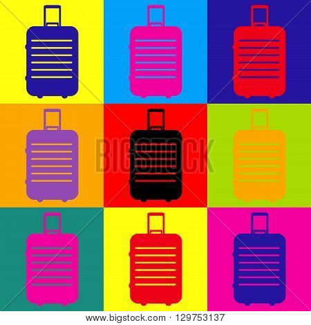 Baggage sign. Pop-art style colorful icons set.