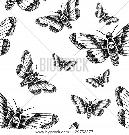 Death head moth. Hand drawn vector stock illustration. Black and white seamless background pattern