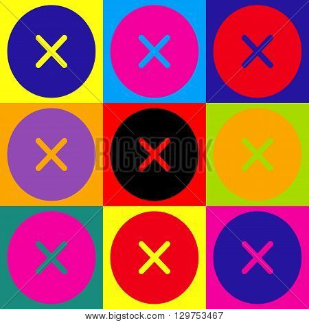 Cross sign. Pop-art style colorful icons set.