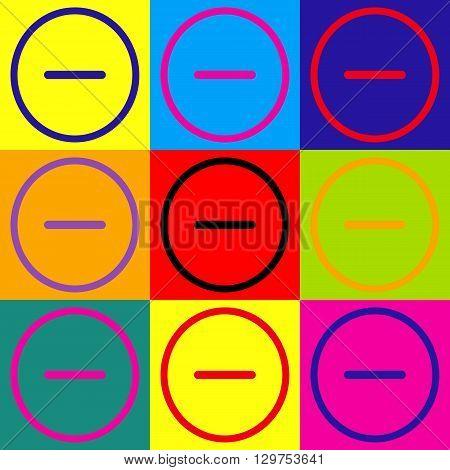 Negative symbol. Minus sign. Pop-art style colorful icons set.