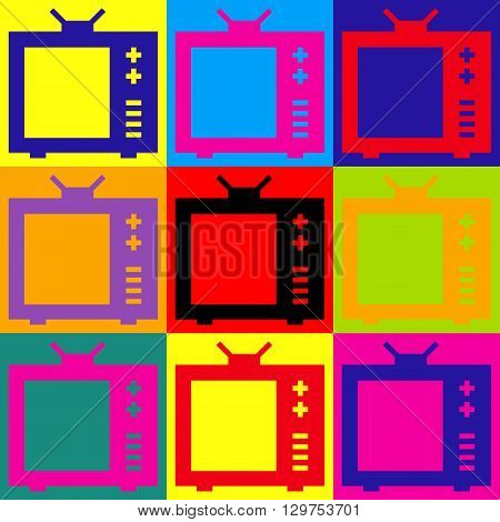 TV sign. Pop-art style colorful icons set.