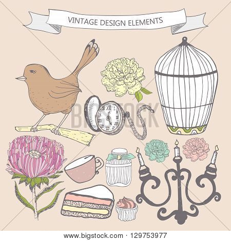Collection of hand drawn vintage items. Perfume bottle aster cake cage bird pocket watch candlestick. Elements can be used separately or for greeting card invitation in retro style etc.