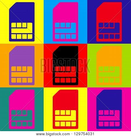 Sim card sign. Pop-art style colorful icons set.