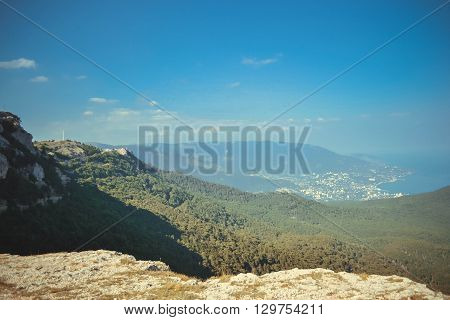 Mountain View from the top with the blue sky the Southern Coast of Crimea filter