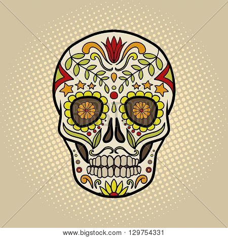 Human skull with patterns cartoon pop art vector illustration. Conceptual vintage retro style. Mexican Day of the Dead attribute