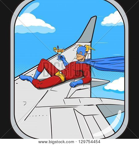 Superhero flying on airplane wing. View from an plane window.  Cartoon pop art vector illustration. Human comic book vintage retro style.