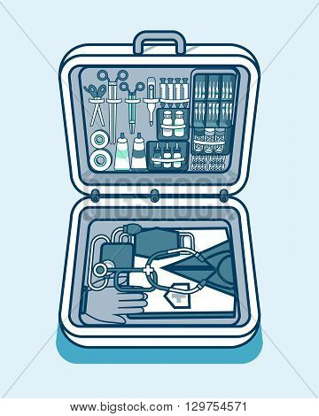 Set Stock vector illustration of medical supplies, drugs, pills, tools, clothing in medical suitcase in isometry line style element for info graphic, website, icon, games, motion design, video