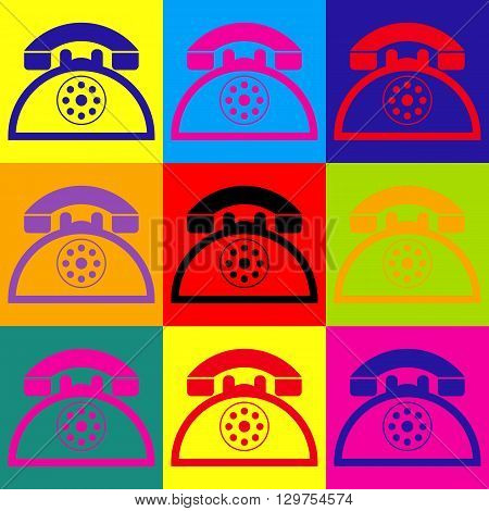 Retro telephone sign. Pop-art style colorful icons set.