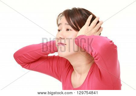 portrait of Japanese woman suffers from noise on white background