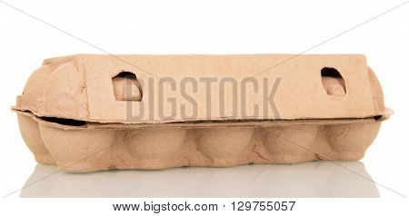 The cardboard container eggs isolated on white background.