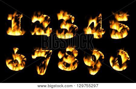 Fire number, Fire text collection. Alphabet of flame, Fire text collection. Alphabet of flame