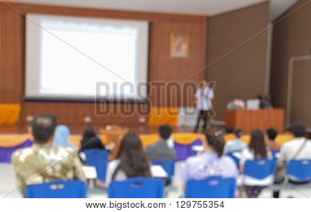 Abstract blurred at Business photo of conference hall or seminar room with attendee background