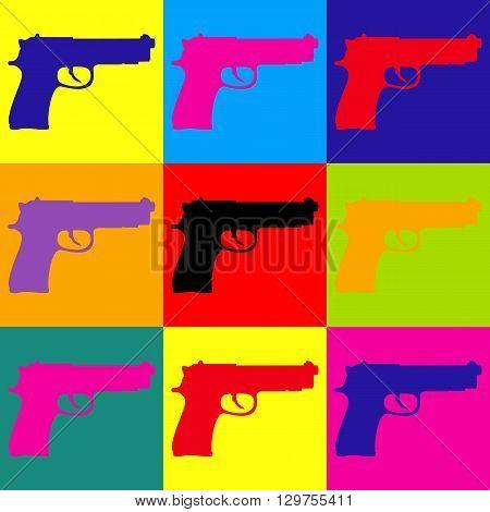 Gun sign. Pop-art style colorful icons set.