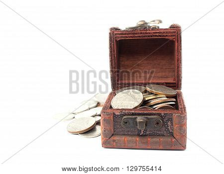 Old treasure chest isolated on white background.