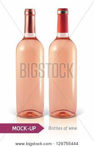 Mockup two realistic bottle of rose wine on a white background with reflection and shadow. Template for wine label design.