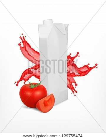 Carton package with splashing juice and tomato. EPS10 vector