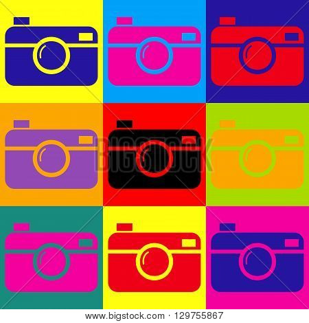 Digital photo camera icon. Pop-art style colorful icons set.