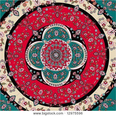 square oriental carpet vector