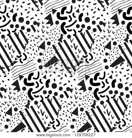 Seamless geometric pattern in memphis style.  Ideal for fabric design, paper print and website backdrop. EPS10 vector file.
