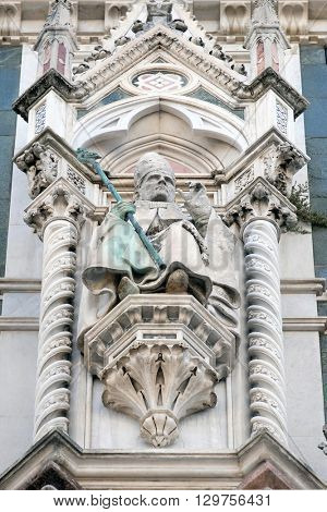 FLORENCE, ITALY - JUNE 05: Pope Leo the Great, Portal of Cattedrale di Santa Maria del Fiore (Cathedral of Saint Mary of the Flower), Florence, Italy on June 05, 2015