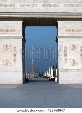 Shymkent, KAZAKHSTAN - January 26, 2016: Independence Arch, Shymkent, Kazakhstan