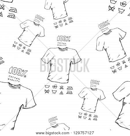 T-shirt seamless background pattern. Colorful hand drawn vector stock illustration