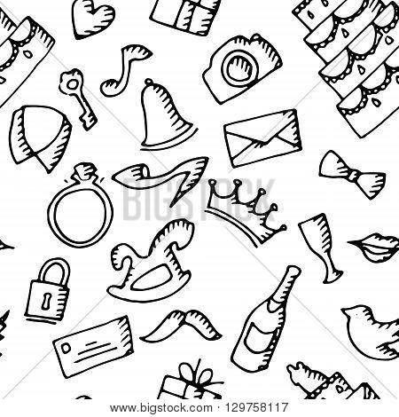Wedding background pattern. Hand drawn vector stock illustration