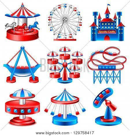 Amusement park icons detailed photo realistic vector set
