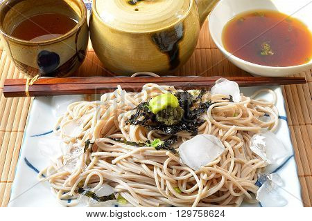 zaru soba,  noodles topping with nori, japanese food